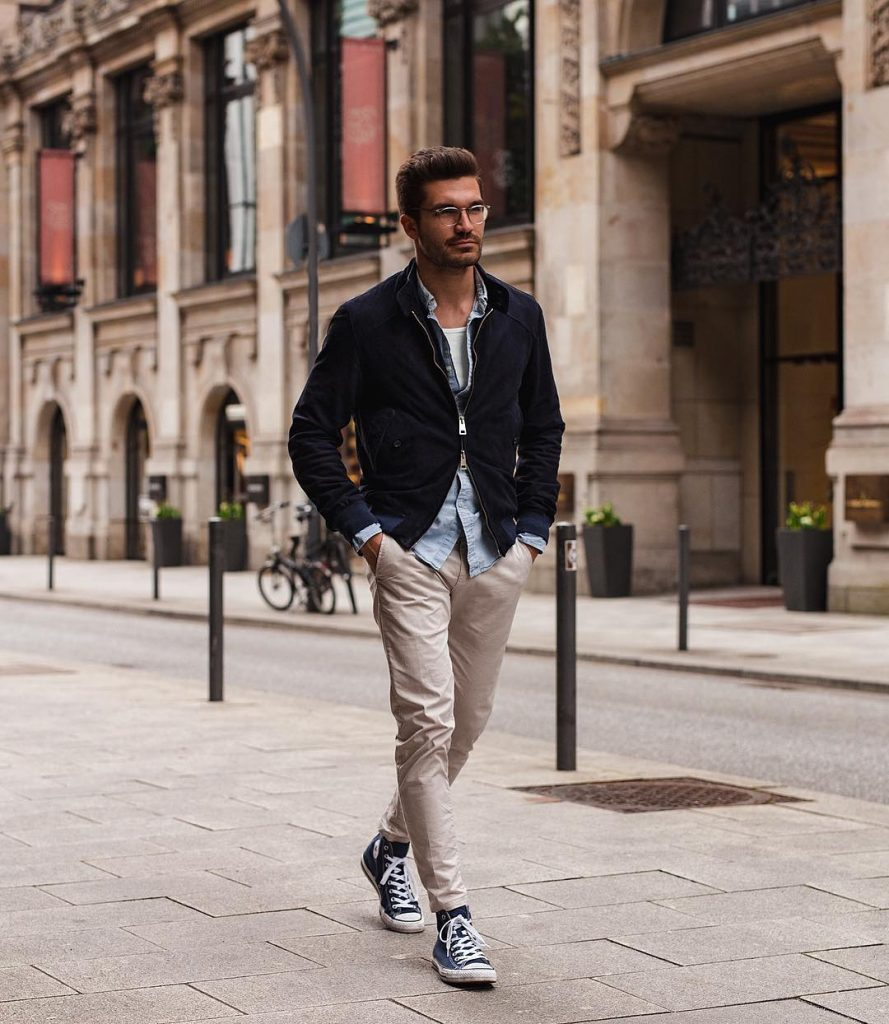 Dark blue jacket, denim shirt, singlet, chinos pants and canvas shoes
