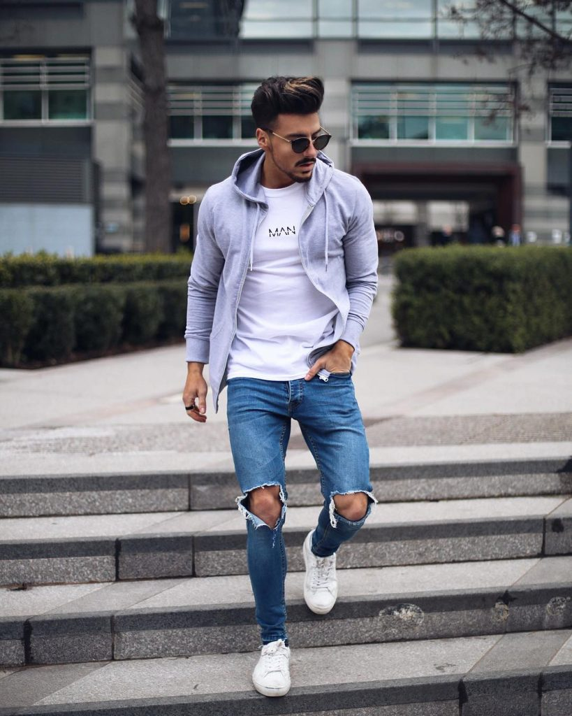 White tee, hoodie jacket, blue jeans and white sneaker