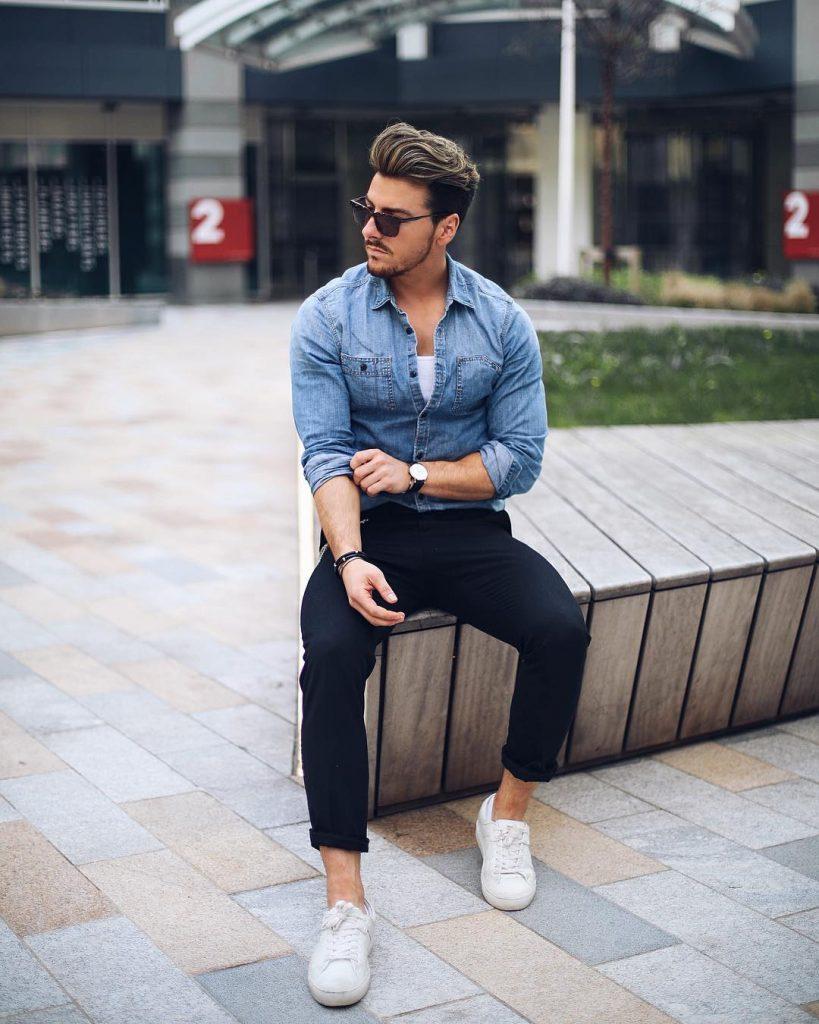 Long sleeve denim jacket, white singlet, dark blue jeans and white sneaker