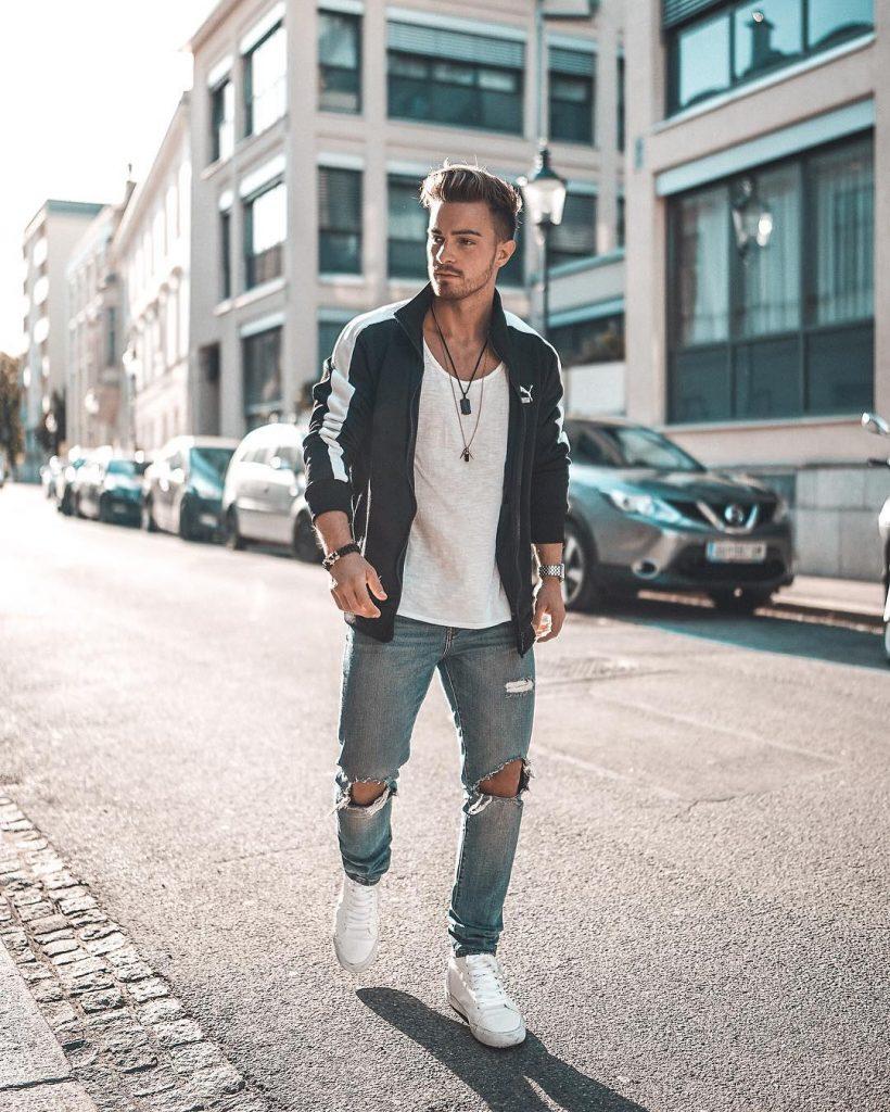 Sport jacket, white singlet, jeans and white sneaker