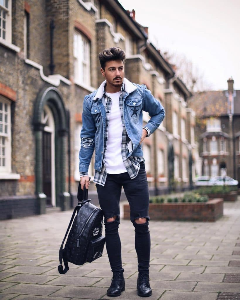 Checked shirt, white tee, denim jacket, dark jeans and leather boots