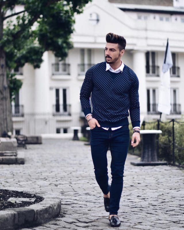 White shirt, print sweater, blue jeans and loafer