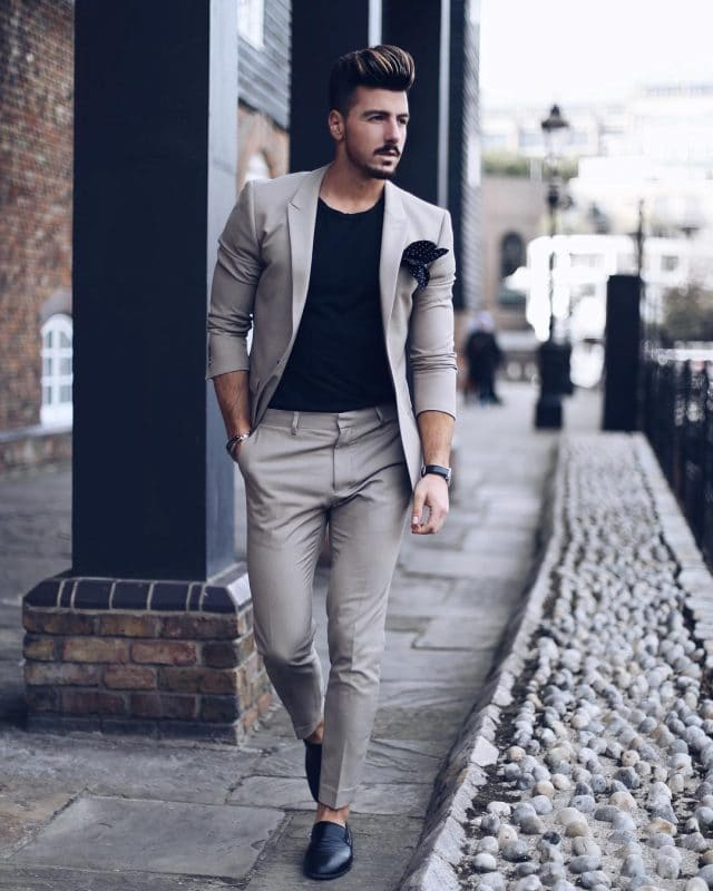 Gray suits, black tee and slip on leather shoes