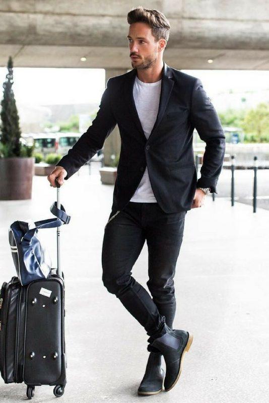 Black blazer, white tee, dark jeans and Chelsea boots