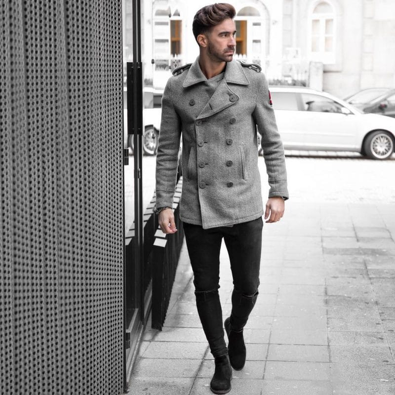 Double breasted wool coat, shirt or tee (inside), dark jeans and boots
