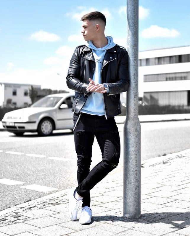Black leather jacket, hoodie sweatshirt, dark jeans and white sneaker