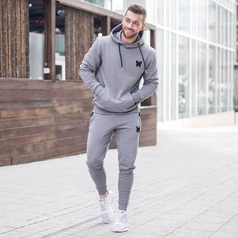 A complete set of sport outfit - Hoodie sweatshirt, sweatpants and sport shoes