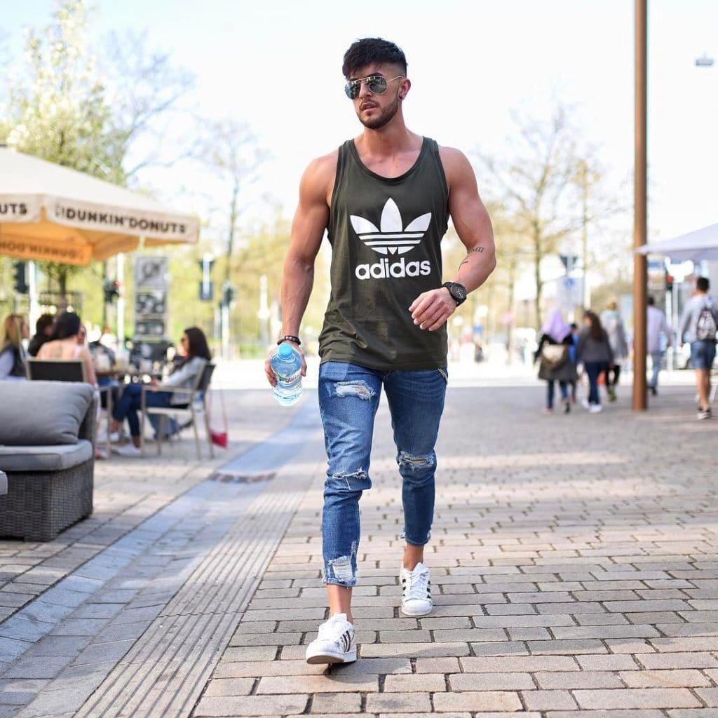 Street wear, green singlet, jeans, sneaker