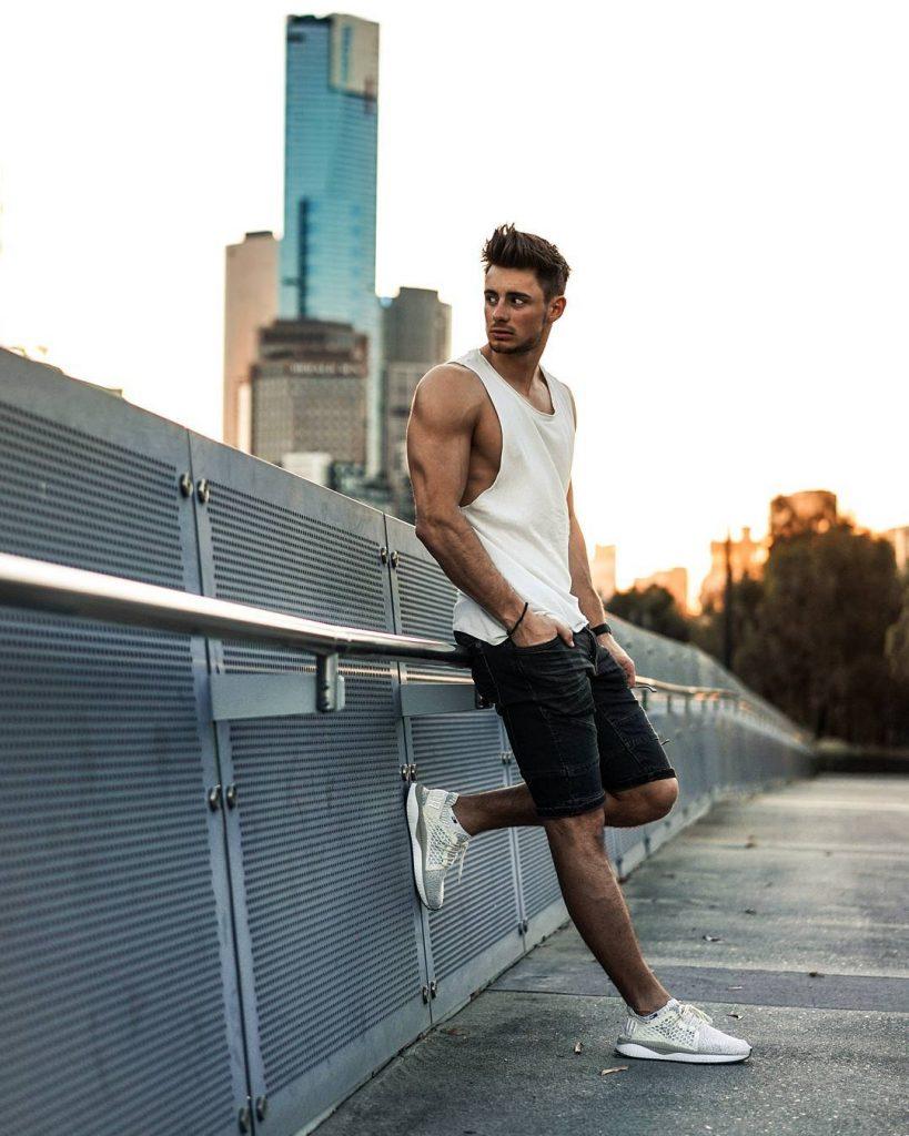 Street wear, singlet, short jeans, sneaker