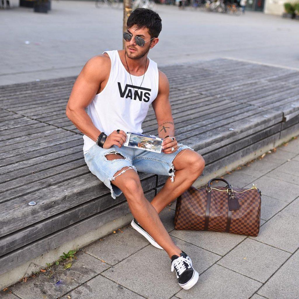 Street wear, white singlet, short jeans, sneaker