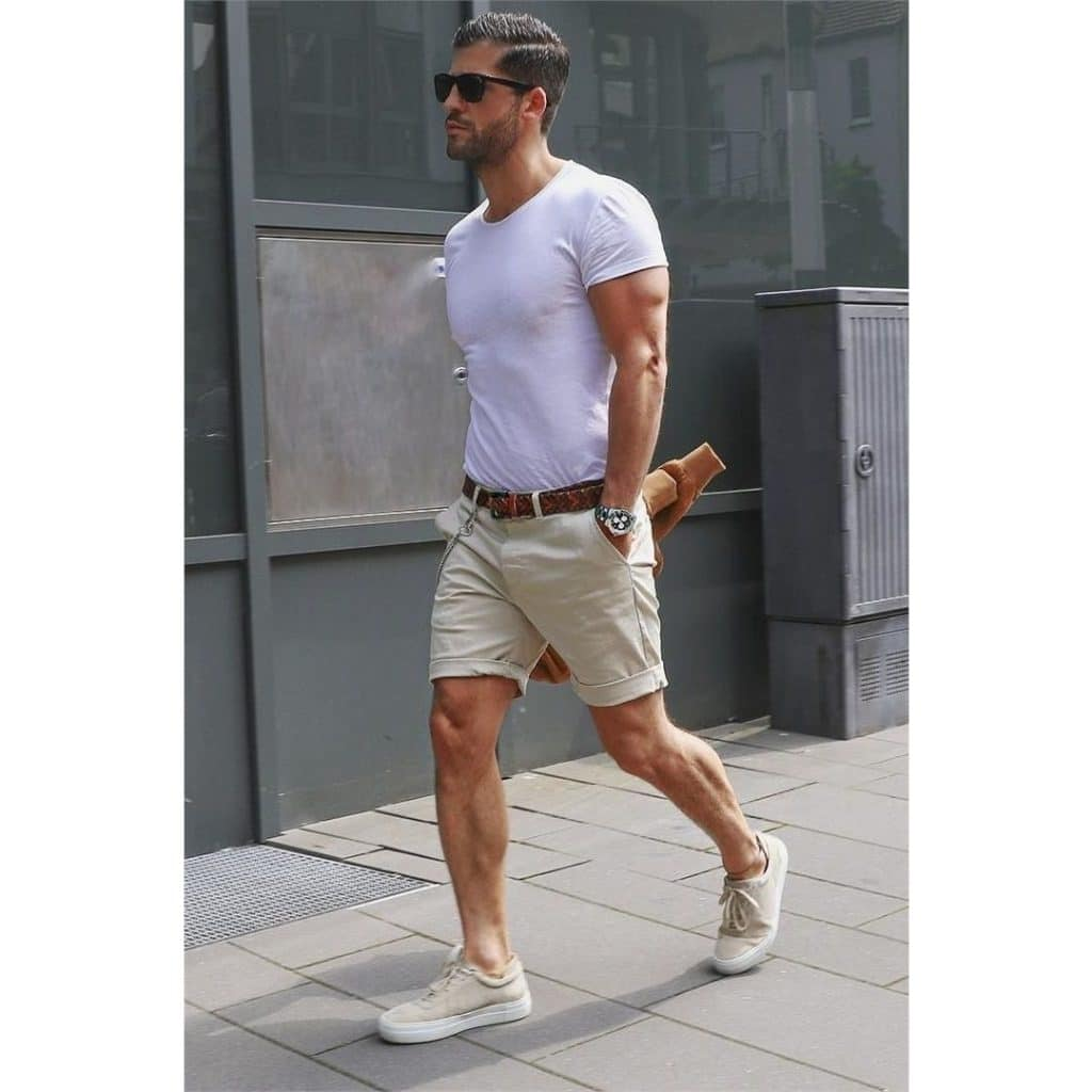 Street wear, white tee, short pants, sneaker