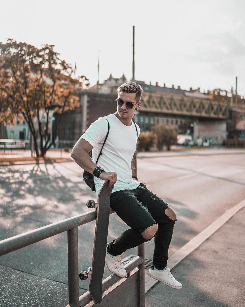 Street wear, white tee, jeans, sneaker