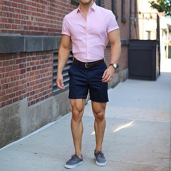 Street wear, pink shirt, short pants, sneaker
