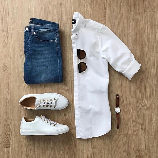 Street wear, white shirt, jeans, sneaker