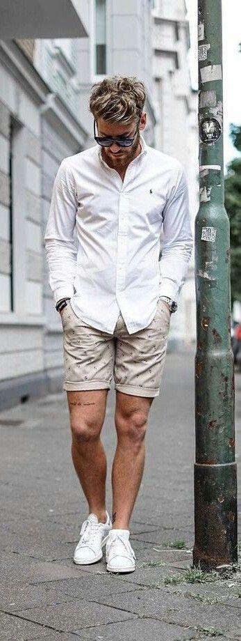 White shirt, beige print short pants, white sneaker