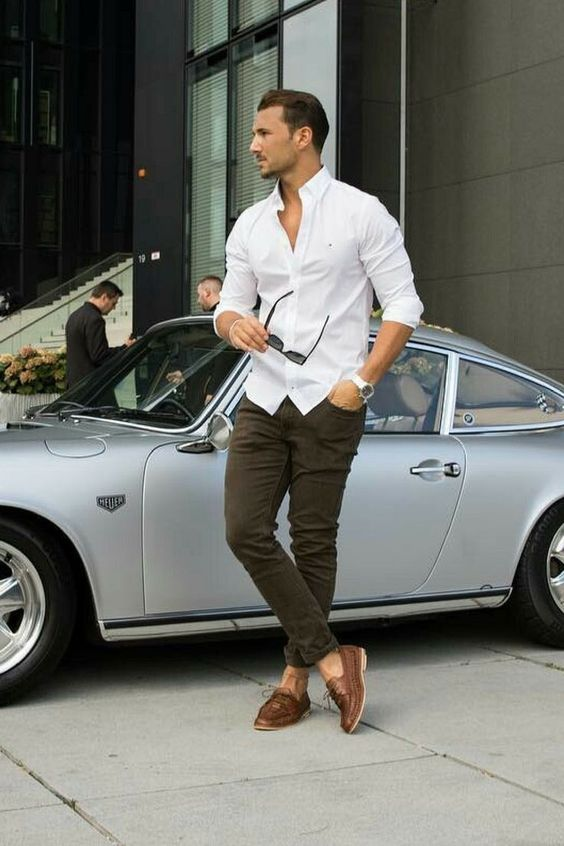 White button-down shirt, olive green pants, loafers