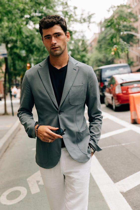 Gray blazer, black tee, white dress pants