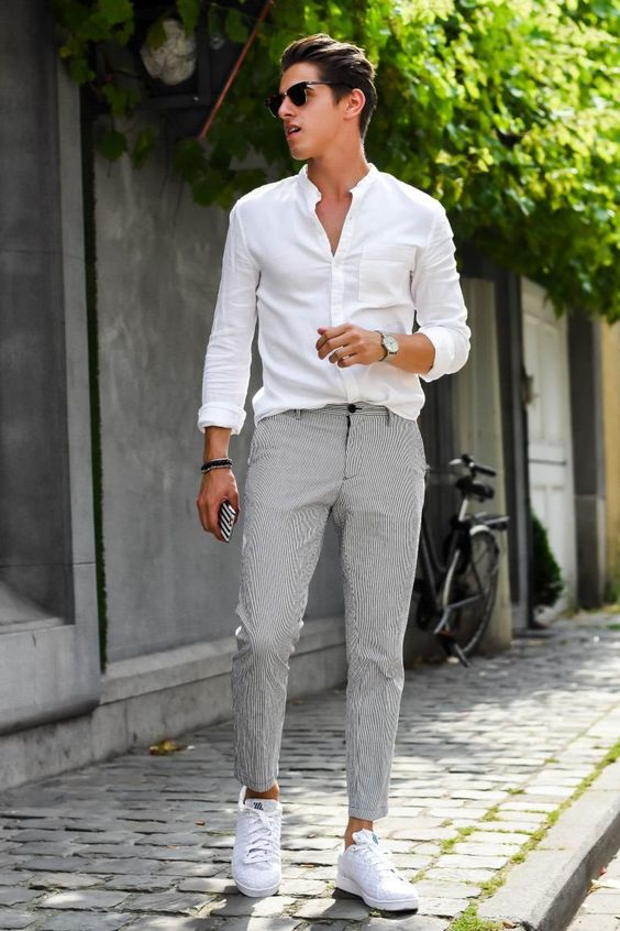 White Shirt Gray Trousers Sneaker