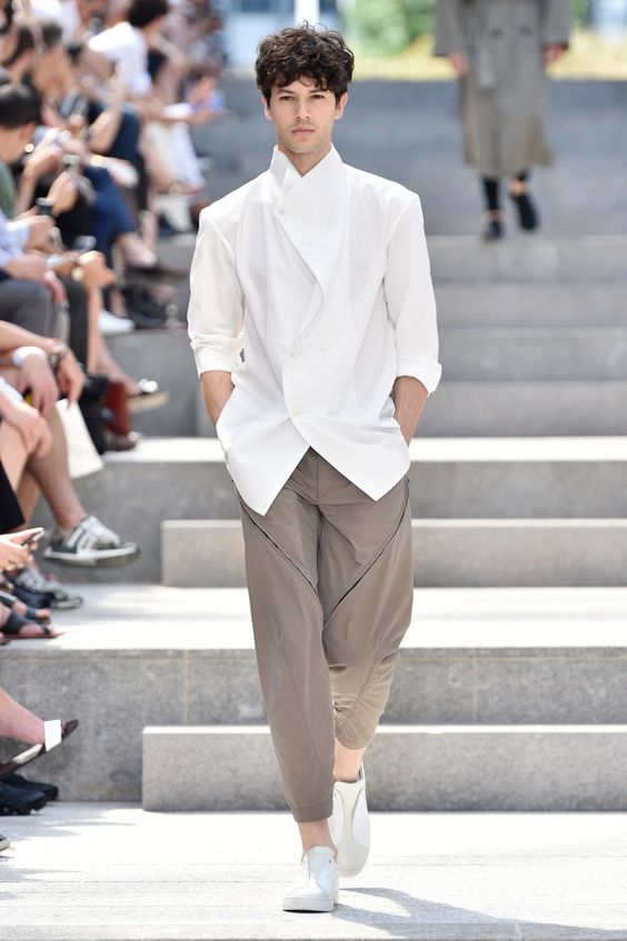 White shirt, brown trousers, sneaker