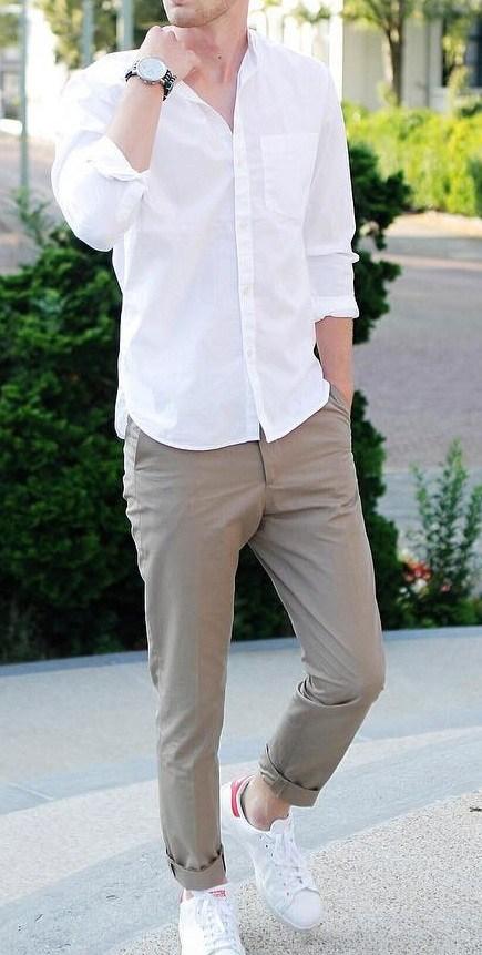 White shirt, chinos pants