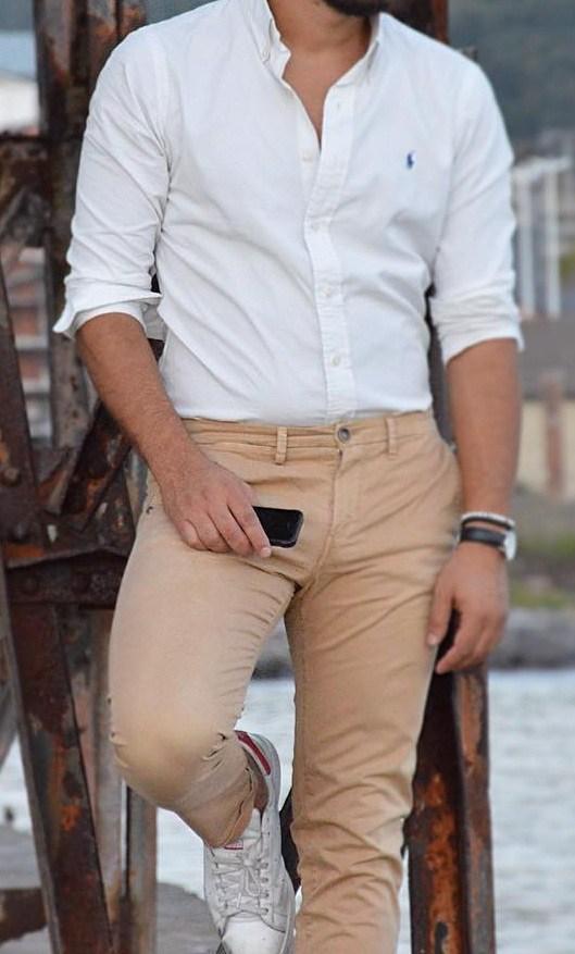 Ralph lauren polo white shirt, brown khaki pants