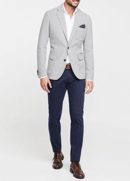 Gray wool blazer, blue dress pants, belt, brown dress shoes