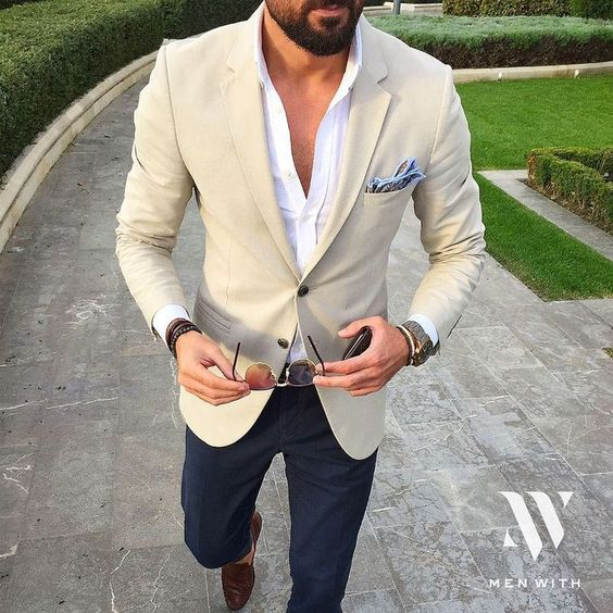 White button-down shirt, blazer, blue trousers, loafers