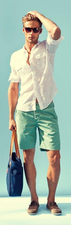 White shirt, green short pants
