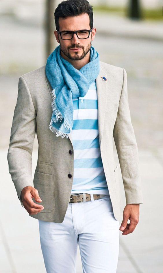 Blazer, print polo shirt, trousers, scarf