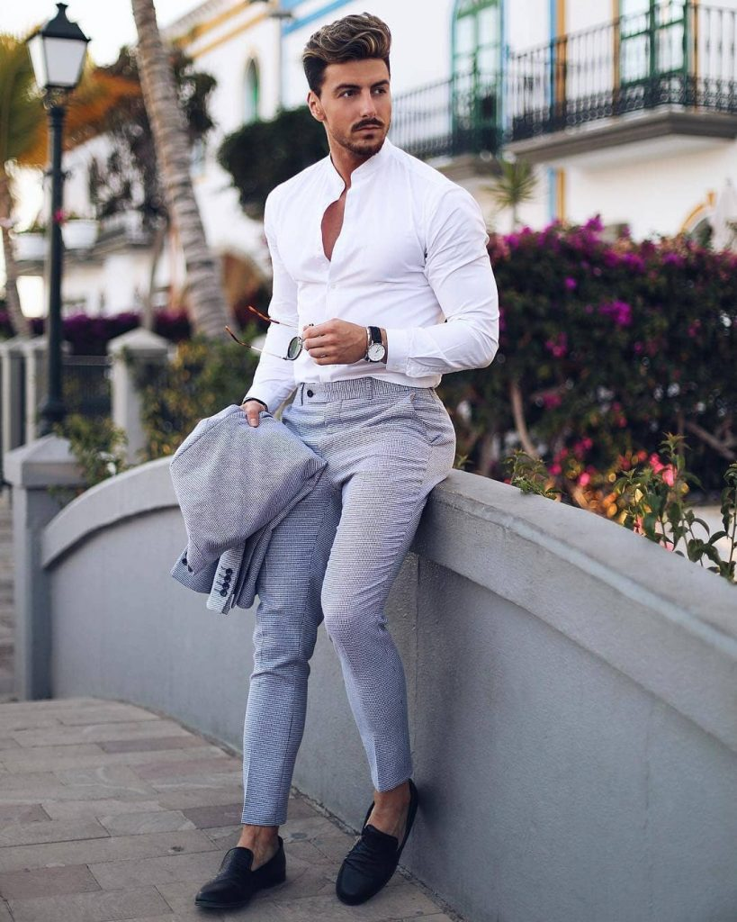 Mandarin collar white button-down shirt, gray textured suit, and slip on shoes