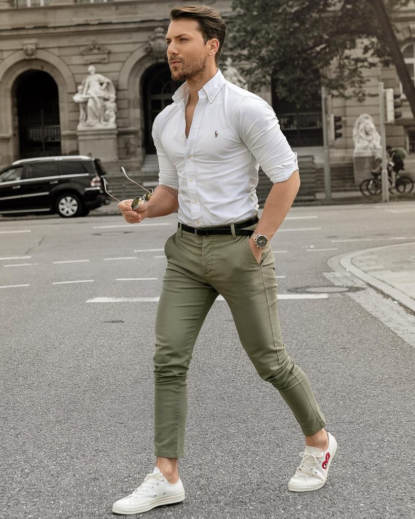 Polo Ralph Lauren Oxford shirt, army green chinos pants, and white sneaker