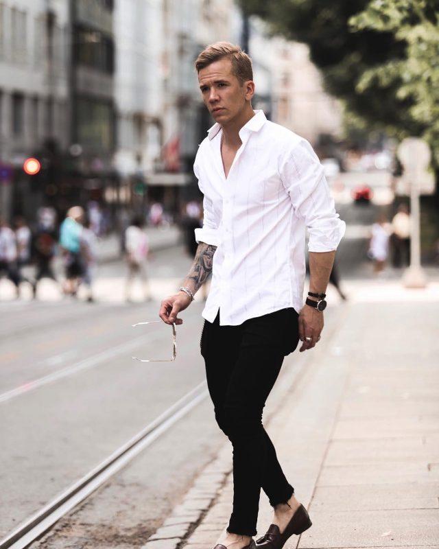 Pinstripe white button-down shirt, black pants, dark brown loafers 1