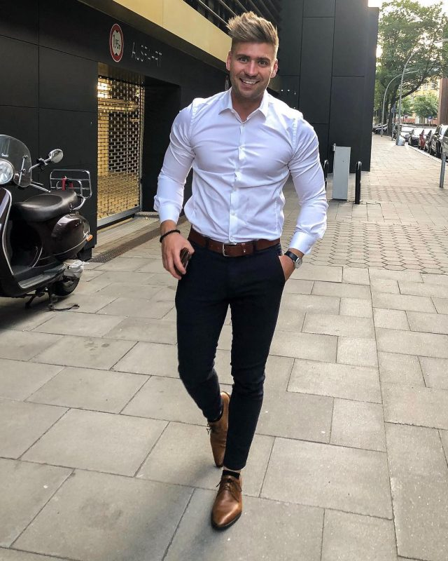 White shirt, brown leather belt, dress pants, brown leather dress shoes 1