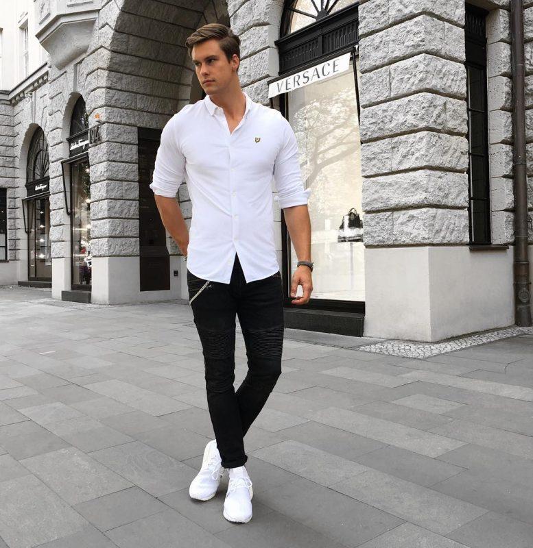 White shirt, black jeans, white sneaker 1