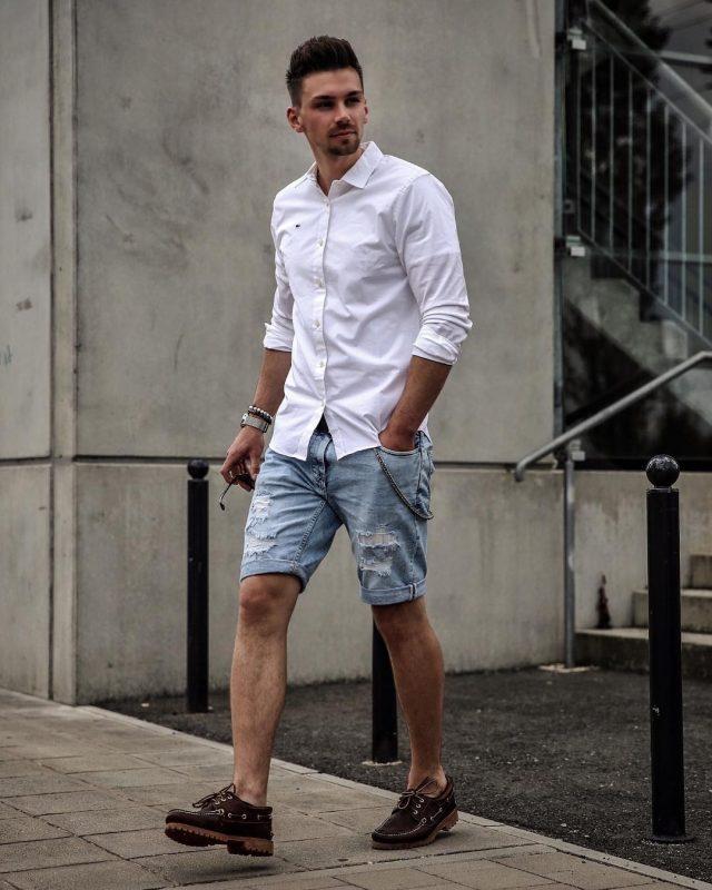 White shirt, denim shorts, brown boat shoes 1