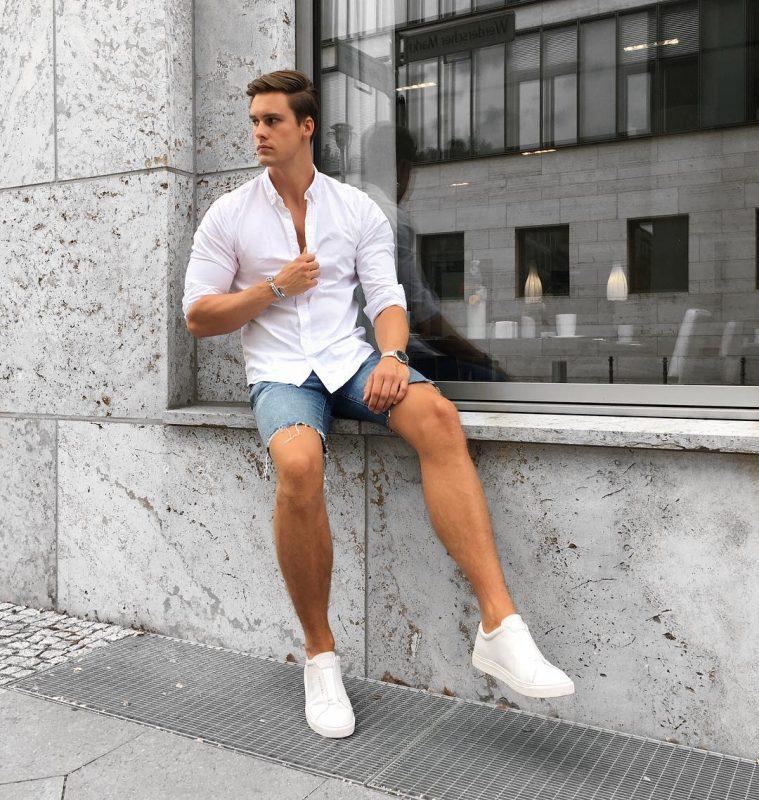 White button-down shirt, denim shorts, white sneaker 1