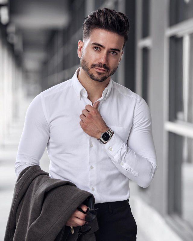 White shirt, blazer, black dress pants 1