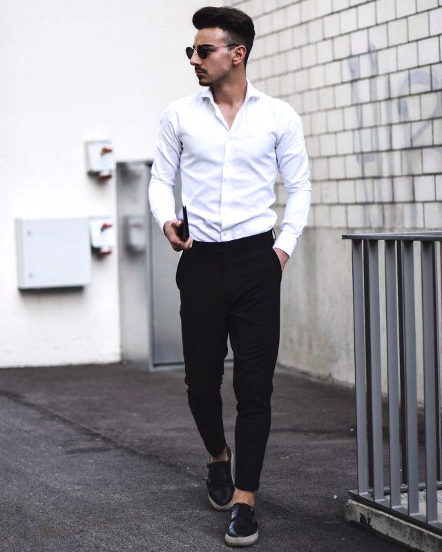 White dress shirt, black dress pants, black sneaker 1