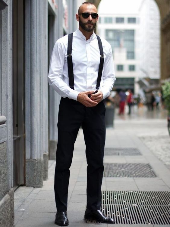 White shirt, dress pants, suspenders, Oxford leather shoes 1