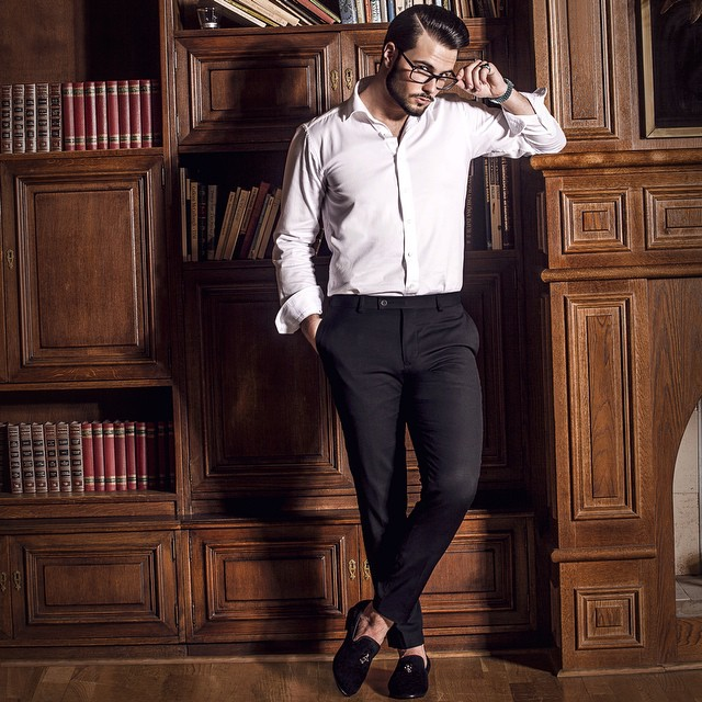 White business shirt, black business pants, suede loafers 1