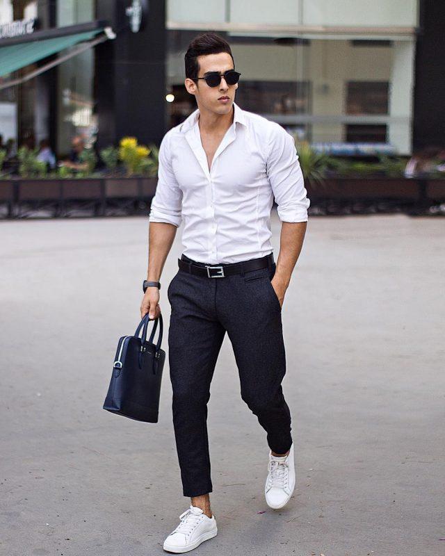 White shirt, dress pants, bag, white sneaker, leather belt 1