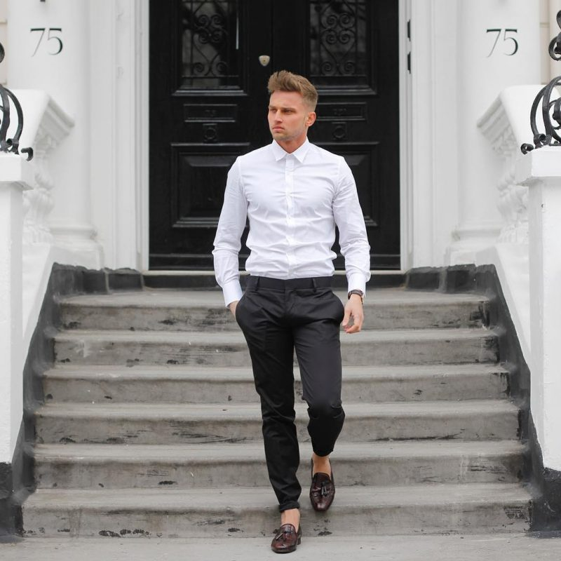 White shirt, black dress pants, leather loafers 1