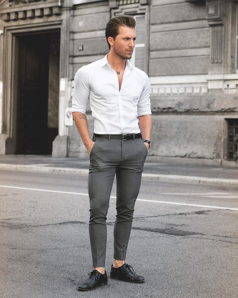 White button-down shirt, wool dress pants, black leather belt, and leather shoes