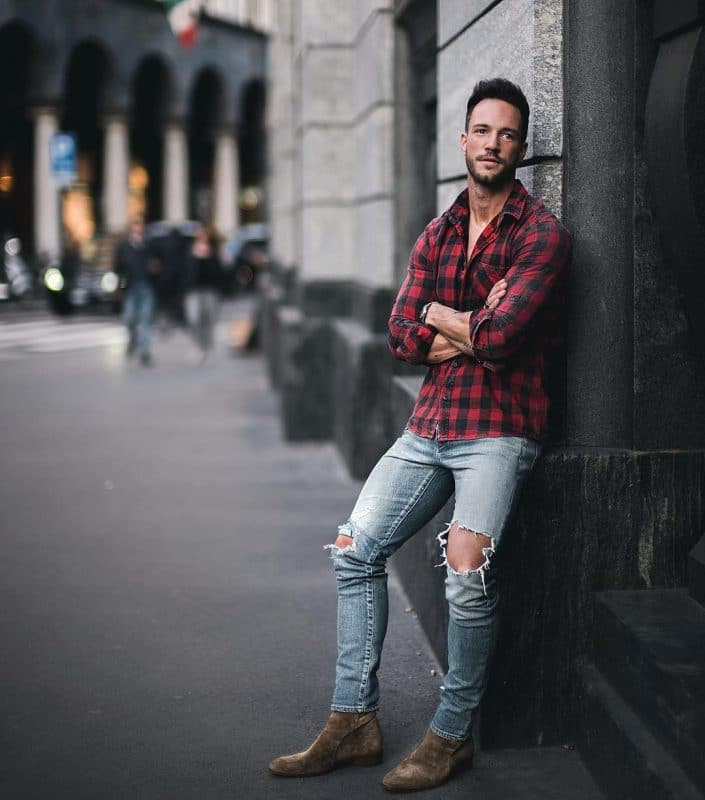 Checked shirt, blue jeans and suede boots