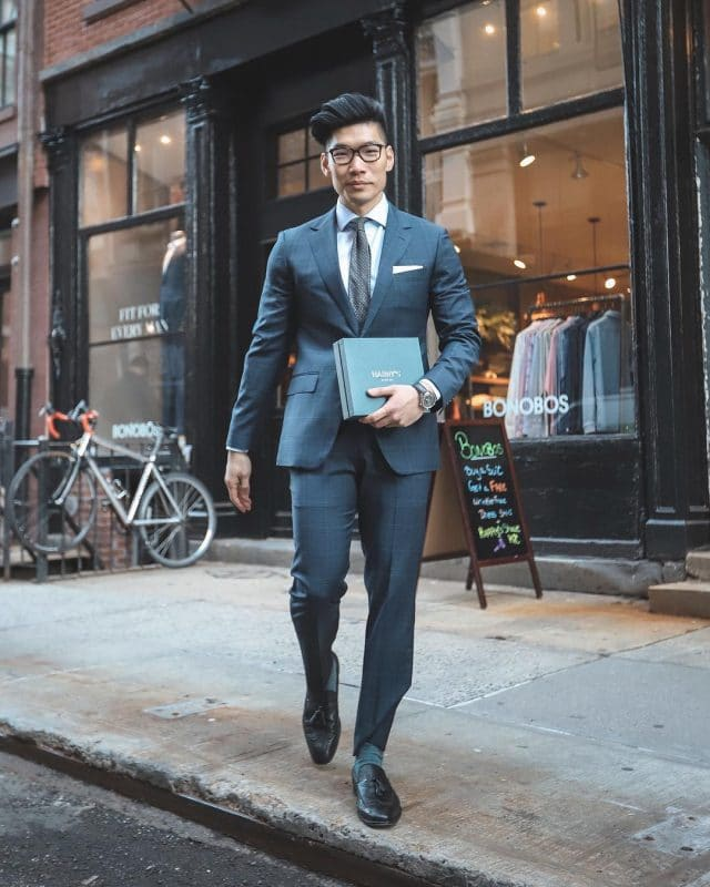 Dark blue suits, white formal shirt, leather dress shoes and tie