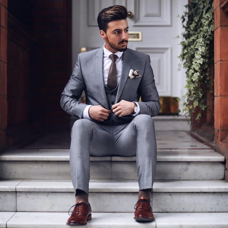 Gray suit with vest plus brown tie and brown Oxford dress shoes