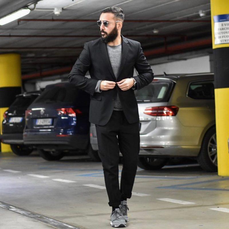 Black suit, tee, sneaker