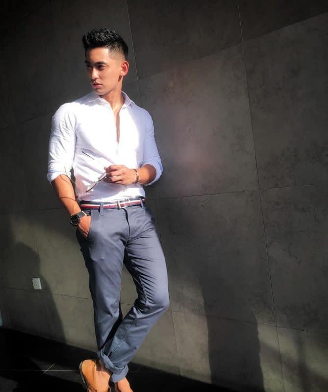 White shirt, khaki pants, boat shoes and stripe belt