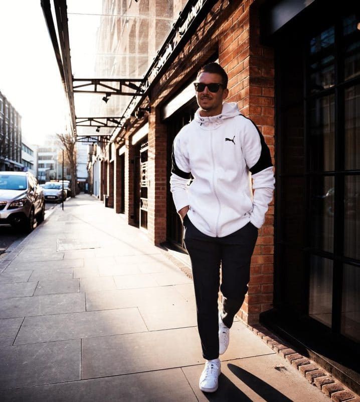 Sport jacket, sport pants and white sneaker
