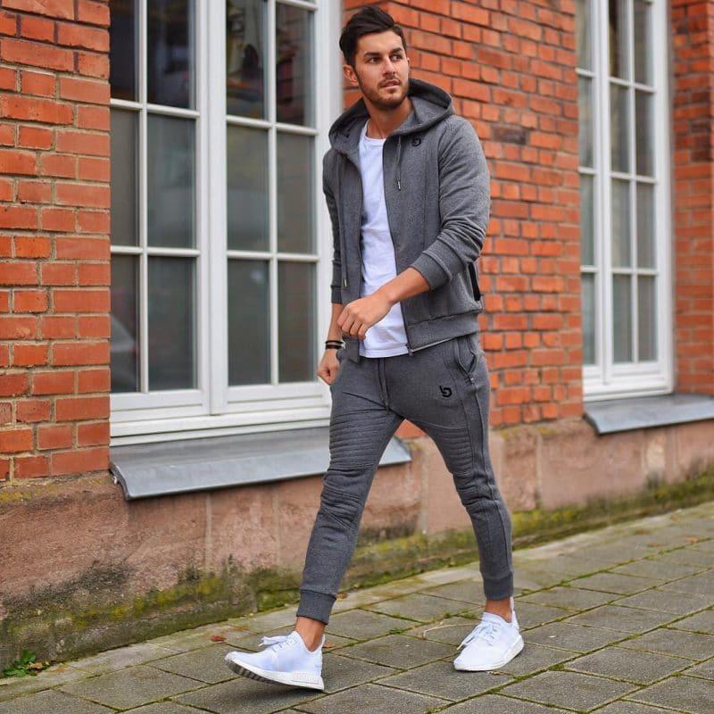 Sport jacket, sport pants, white tee, training shoes